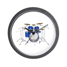 Drum Kit: Blue Finish Wall Clock