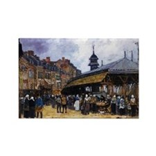 Boudin: Market Day at Trouville,  Rectangle Magnet