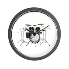 Drum Kit: Black Finish Wall Clock