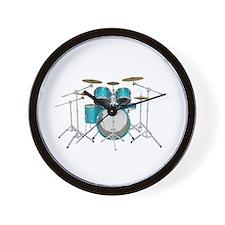 Drum Kit: Aqua Finish Wall Clock
