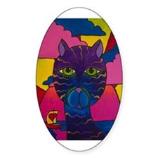 Hip Cat Oval Decal