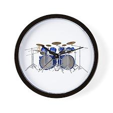 Large Drum Kit: Blue Wall Clock