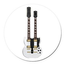 Doubleneck Guitar White Finish: Vector Art Round C
