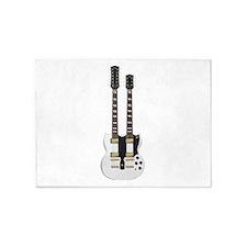 Doubleneck Guitar White Finish: Vector Art 5'x7'Ar