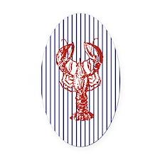 vintage red lobster navy stripes n Oval Car Magnet