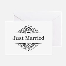 Just Married in Black Greeting Cards