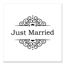 """Just Married in Black Square Car Magnet 3"""" x 3"""""""