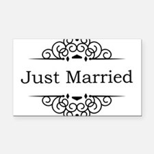 Just Married in Black Rectangle Car Magnet