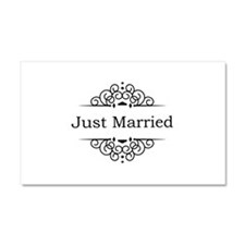 Just Married in Black Car Magnet 20 x 12