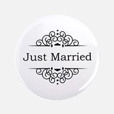 "Just Married in Black 3.5"" Button (100 pack)"