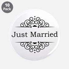 "Just Married in Black 3.5"" Button (10 pack)"