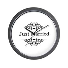Just Married in Black Wall Clock