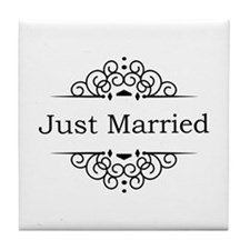 Just Married in Black Tile Coaster