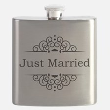 Just Married in Black Flask