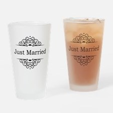 Just Married in Black Drinking Glass