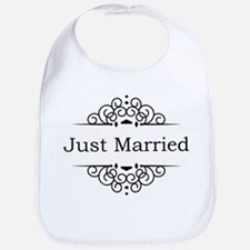 Just Married in Black Bib