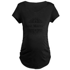 Just Married in Black Maternity T-Shirt