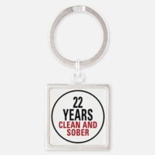 22 Years Clean and Sober Square Keychain