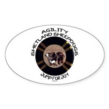 Agility Shetland Sheepdogs Jump Oval Decal