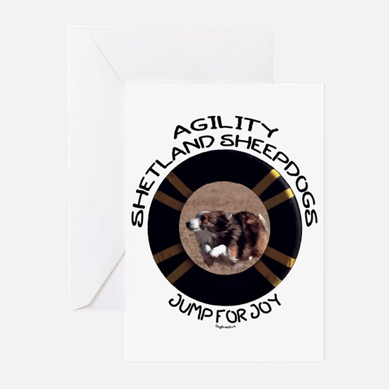 Agility Shetland Sheepdogs Jump Greeting Cards (Pa