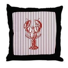 vintage red lobster navy stripes naut Throw Pillow
