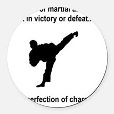 Martial Arts Character Black Round Car Magnet