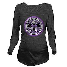 Purple Crow Pentacle Long Sleeve Maternity T-Shirt