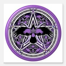 "Purple Crow Pentacle Square Car Magnet 3"" x 3"""