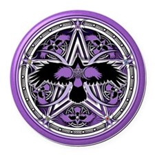 Purple Crow Pentacle Round Car Magnet