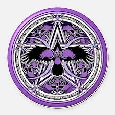 Purple Crow Pentacle Round Car Magnet