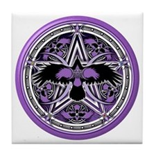 Purple Crow Pentacle Tile Coaster