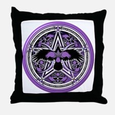 Purple Crow Pentacle Throw Pillow