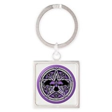 Purple Crow Pentacle Square Keychain