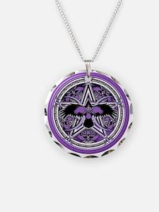 Purple Crow Pentacle Necklace Circle Charm