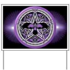 Purple Crow Pentacle Banner Yard Sign