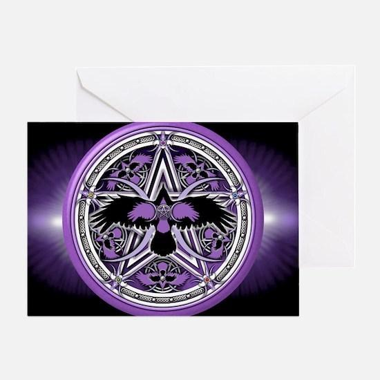 Purple Crow Pentacle Banner Greeting Card