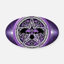 Purple Crow Pentacle Banner Oval Car Magnet