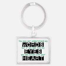 Words Eyes Heart black Landscape Keychain