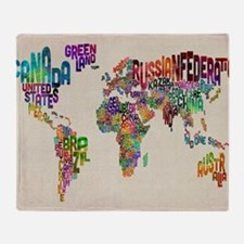 Funny World typography map Throw Blanket