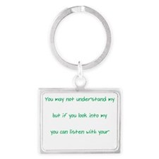Words Eyes Heart white Landscape Keychain