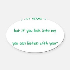Words Eyes Heart white Oval Car Magnet