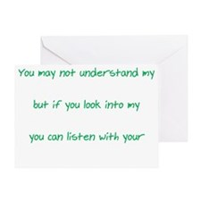 Words Eyes Heart white Greeting Card