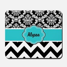 Blue Black Damask Chevron Mousepad