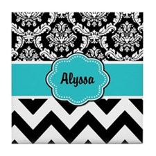Blue Black Damask Chevron Tile Coaster
