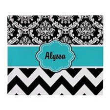 Blue Black Damask Chevron Throw Blanket