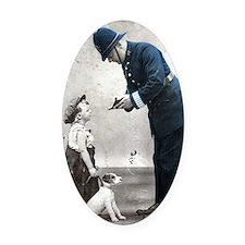 Old Police Print Oval Car Magnet