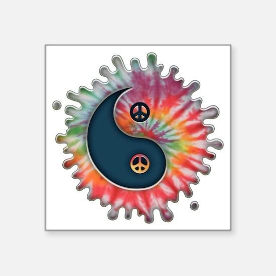 "tie-dye-yinyang-T Square Sticker 3"" x 3"""