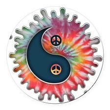 tie-dye-yinyang-T Round Car Magnet