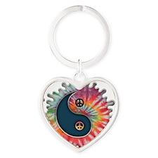 tie-dye-yinyang-T Heart Keychain