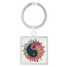 tie-dye-yinyang-T Square Keychain